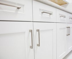 White kitchen cabinet in kitchen